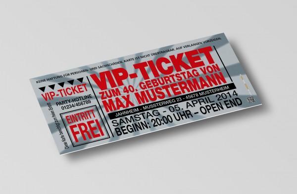 Einladung Einladungskarte lustig Geburtstag VIP-Ticket silber