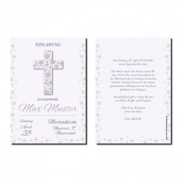 Einladung Einladungskarte Jugendweihe Blumen Kreuz