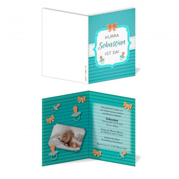 Geburtskarten Babykarten individuell - Junge Schnuller