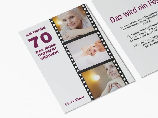 Einladungskarten 70. Geburtstag Filmstreifen