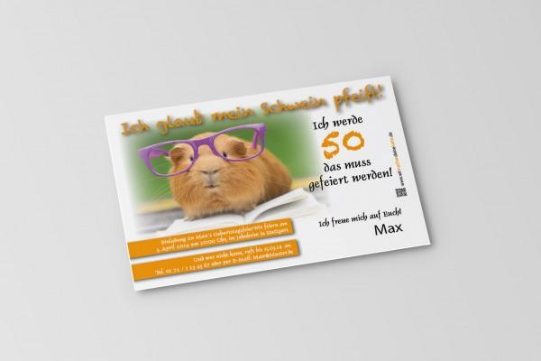 Einladung Einladungskarte lustig Geburtstag Meerschweinchen