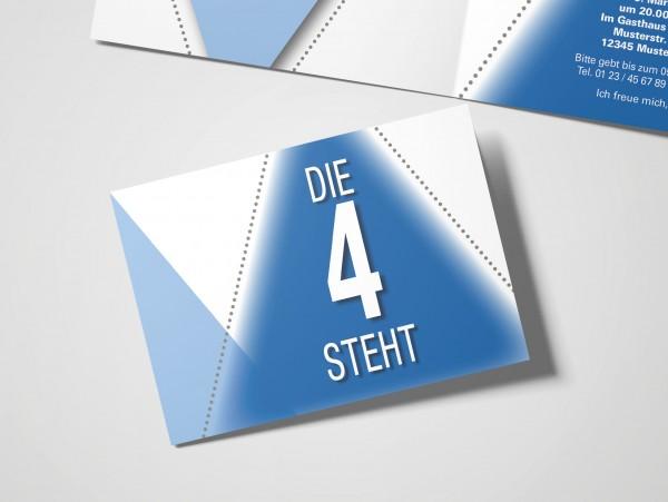 Geburtstag Einladungskarten - 40. Geburtstag Die 4 steht Blau