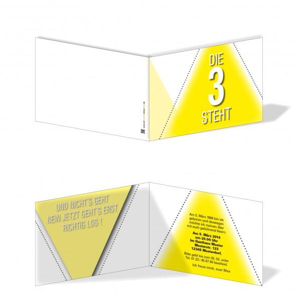 Geburtstag Einladungskarten - 30. Geburtstag Die 3 steht gelb