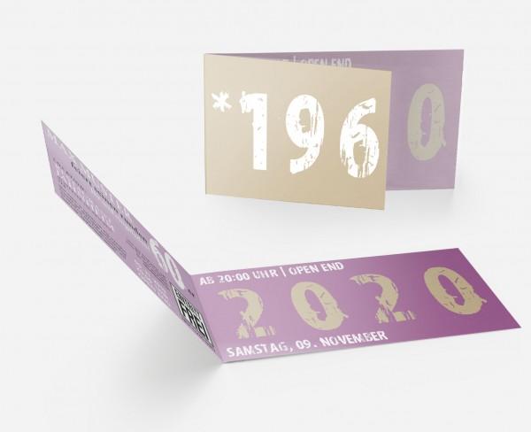 Geburtstag Einladungskarten - 60. Geburtstag Zeitsprung Beige