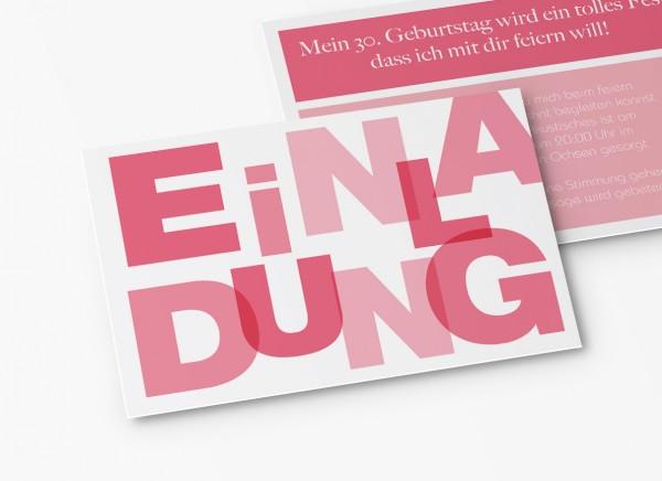 Einladungskarten 30. Geburtstag Große Buchstaben
