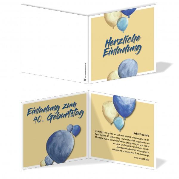 Einladung Einladungskarte Geburtstag Blue Balloon 2