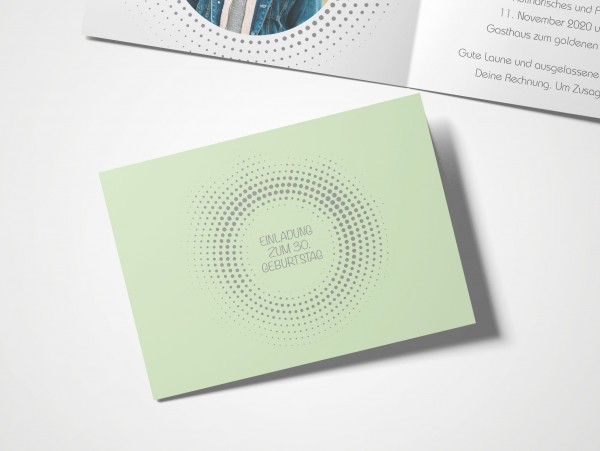 Einladungskarten 30. Geburtstag Kreisrund grün