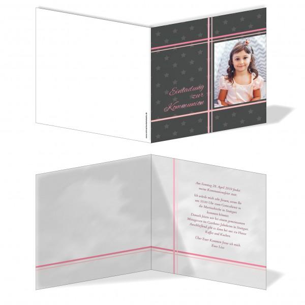 Einladung Einladungskarte Kommunion Bilder Kreuz Grau/Rosa