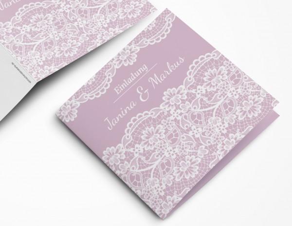 Einladungskarten Hochzeit Hochzeitskarten mit Druck - Rosa&Spitze