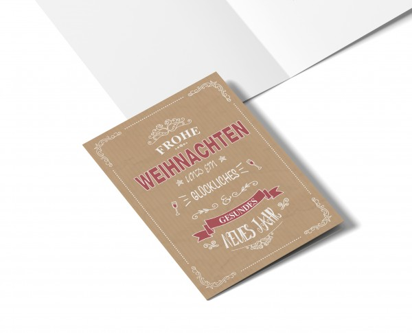 Weihnachtskarte Retro Rot