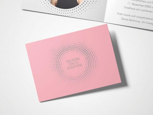 Einladungskarten 30. Geburtstag Kreisrund rosa