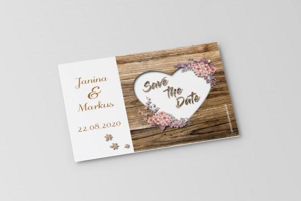 Save the Date Karten Einladung Hochzeit - Rustikale Holz-Optik braun