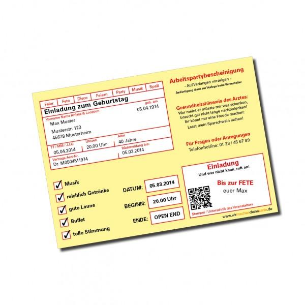 Einladung Einladungskarte lustig Geburtstag Krankmeldung individuell