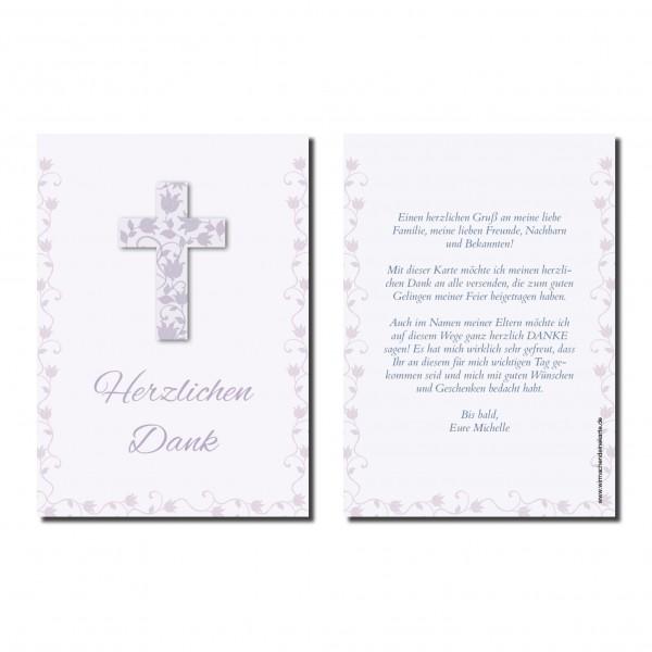 Dankeskarte Blumen Kreuz