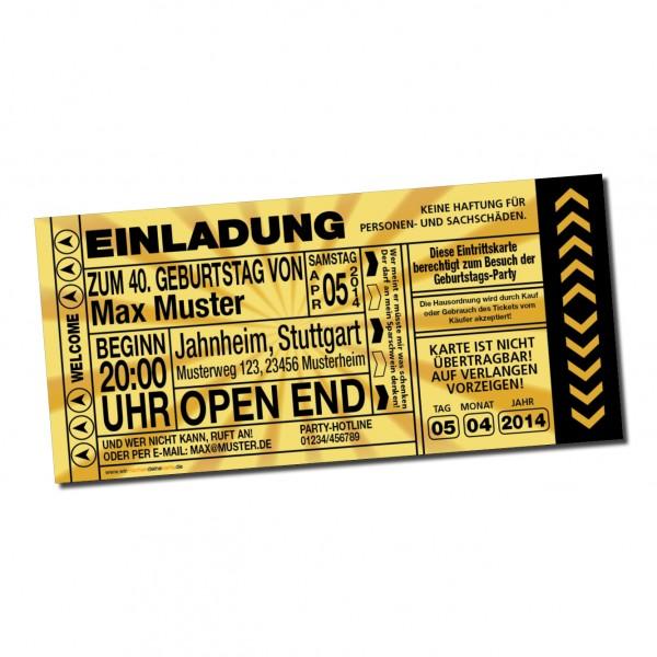 Einladung Einladungskarte Lustig Geburtstag Ticket Gold