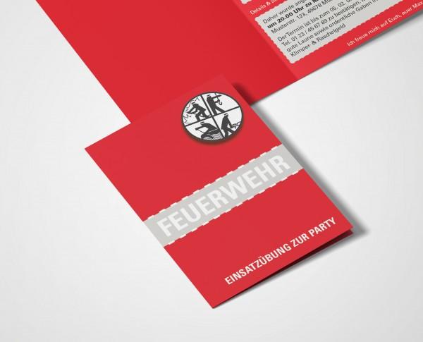 Feuerwehr Einladung Einladungskarte lustig Geburtstag DIN A6 hoch Klappkarte