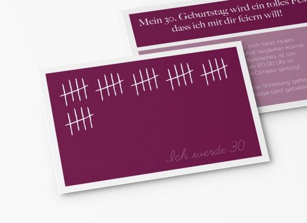 Einladungskarten 30. Geburtstag Strichliste lila