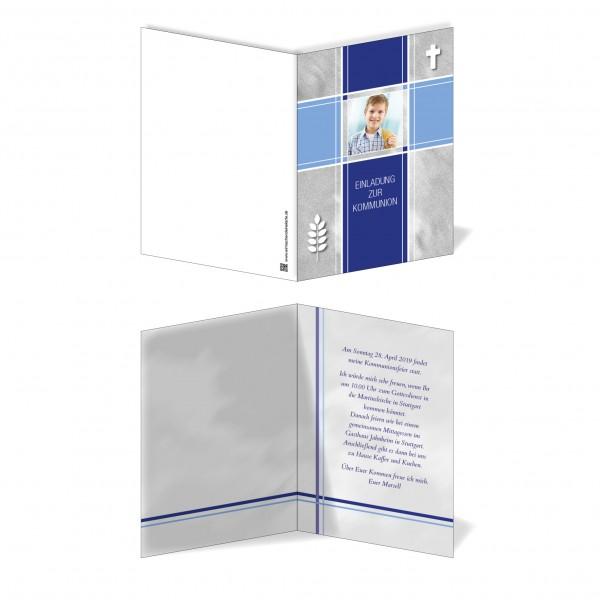 Einladung Einladungskarte Kommunion Bilder Kreuz Blau