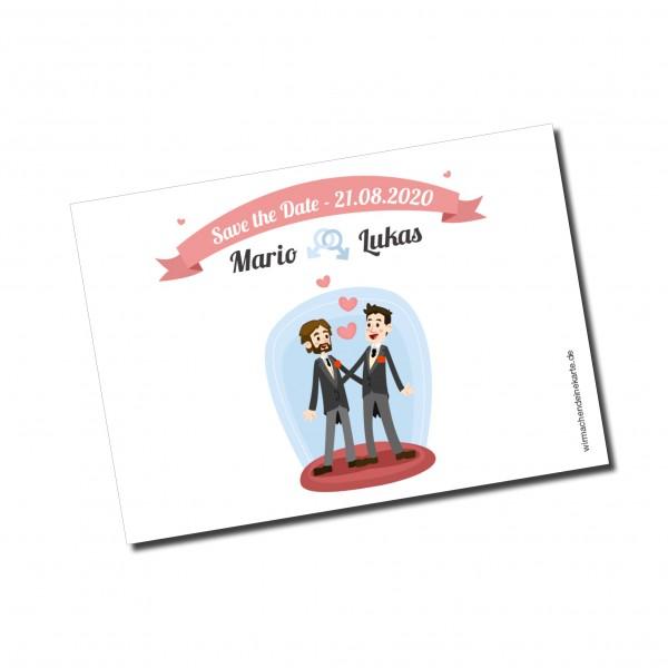 Save the Date Karten Einladung Hochzeit - Mann & Mann