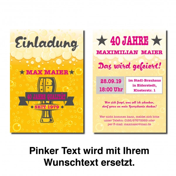 Bier Einladung Einladungskarte Geburtstag Bayrisch prickelndes Bier