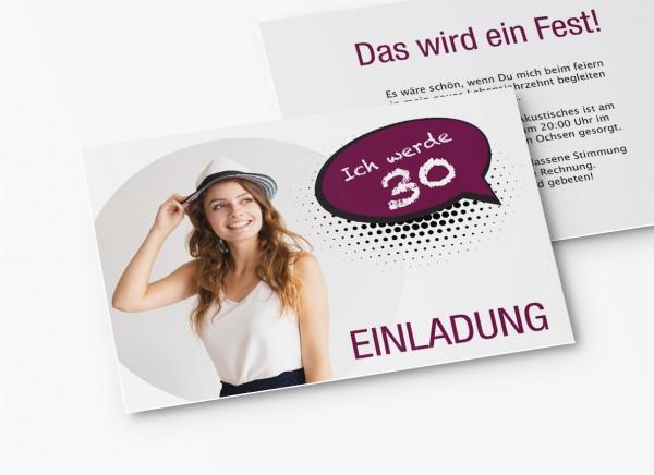 Einladungskarten 30. Geburtstag Sprechblase lila