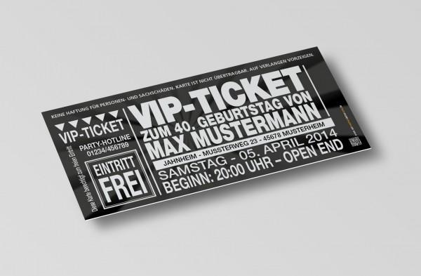 Einladung Einladungskarte lustig Geburtstag VIP-Ticket schwarz