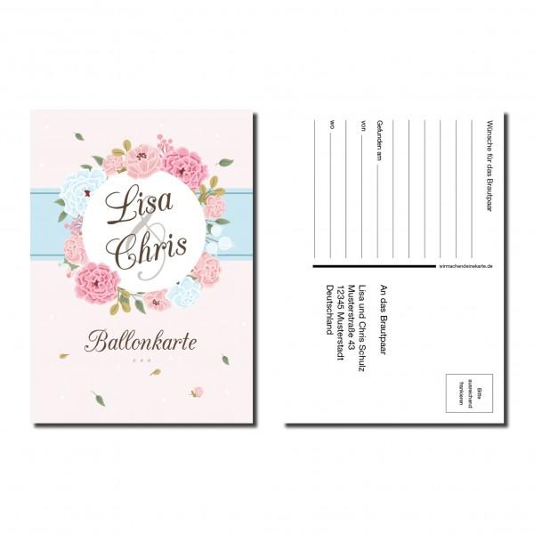 Ballonkarten Luftballon Karten Hochzeit - Blumen Kreis