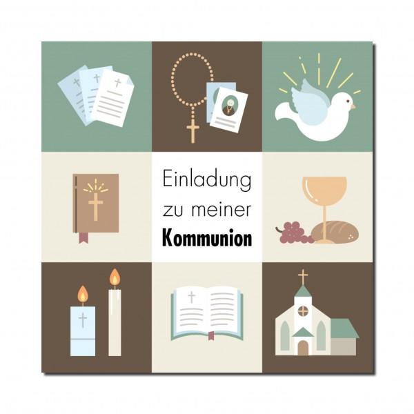 Einladung Einladungskarte Kommunion Quadrate Braun
