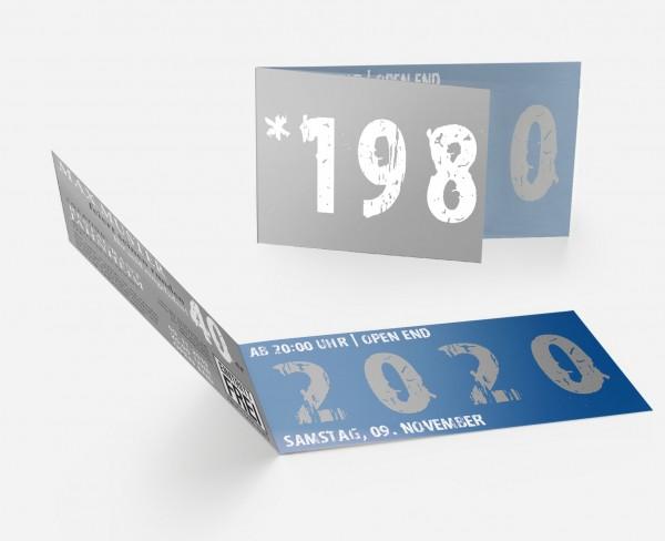 Geburtstag Einladungskarten -  40. Geburtstag Zeitsprung Blau Grau