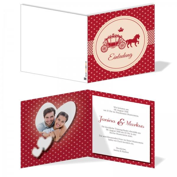 Einladungskarten Hochzeit Hochzeitskarten mit Druck - Pferdekutsche