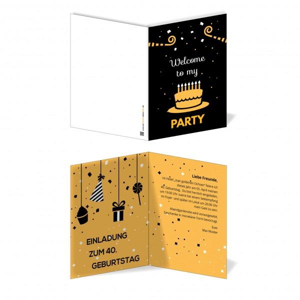 Einladung Einladungskarte Geburtstag Orangene Torte