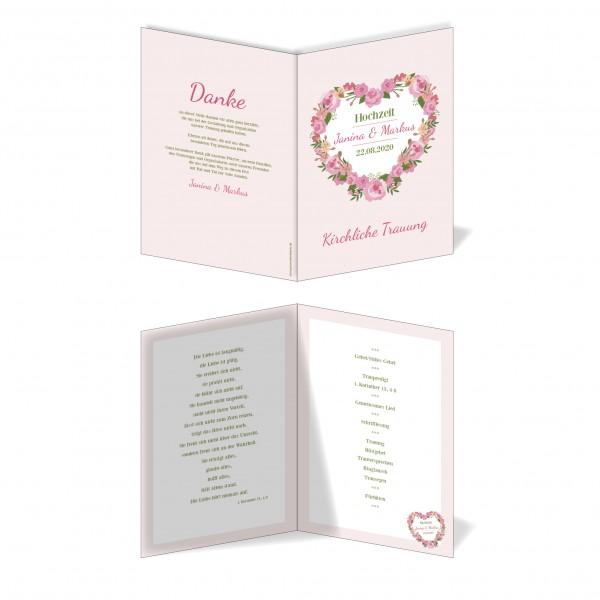 Kirchenprogramm Hochzeit - Blumen Herz