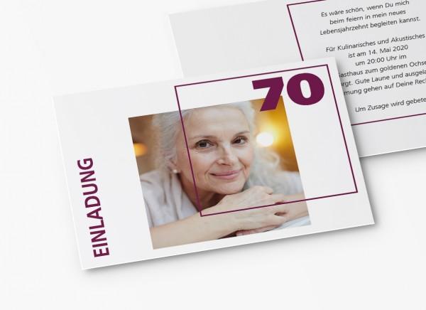 Einladungskarten 70. Geburtstag Quader Gitter