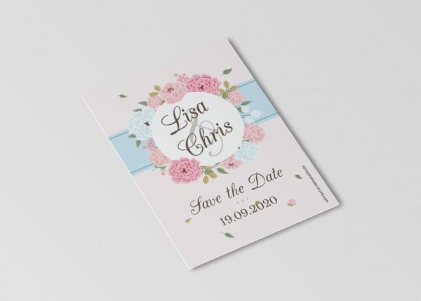 Save the Date Karten Einladung Hochzeit - Blumen Kreis