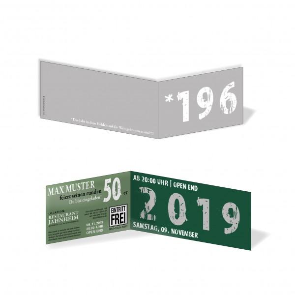 Geburtstag Einladungskarten - 50. Geburtstag Zeitsprung Silber