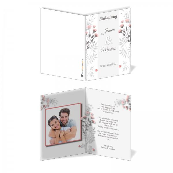 Einladungskarten Hochzeit Hochzeitskarten mit Druck - Mohnblumen