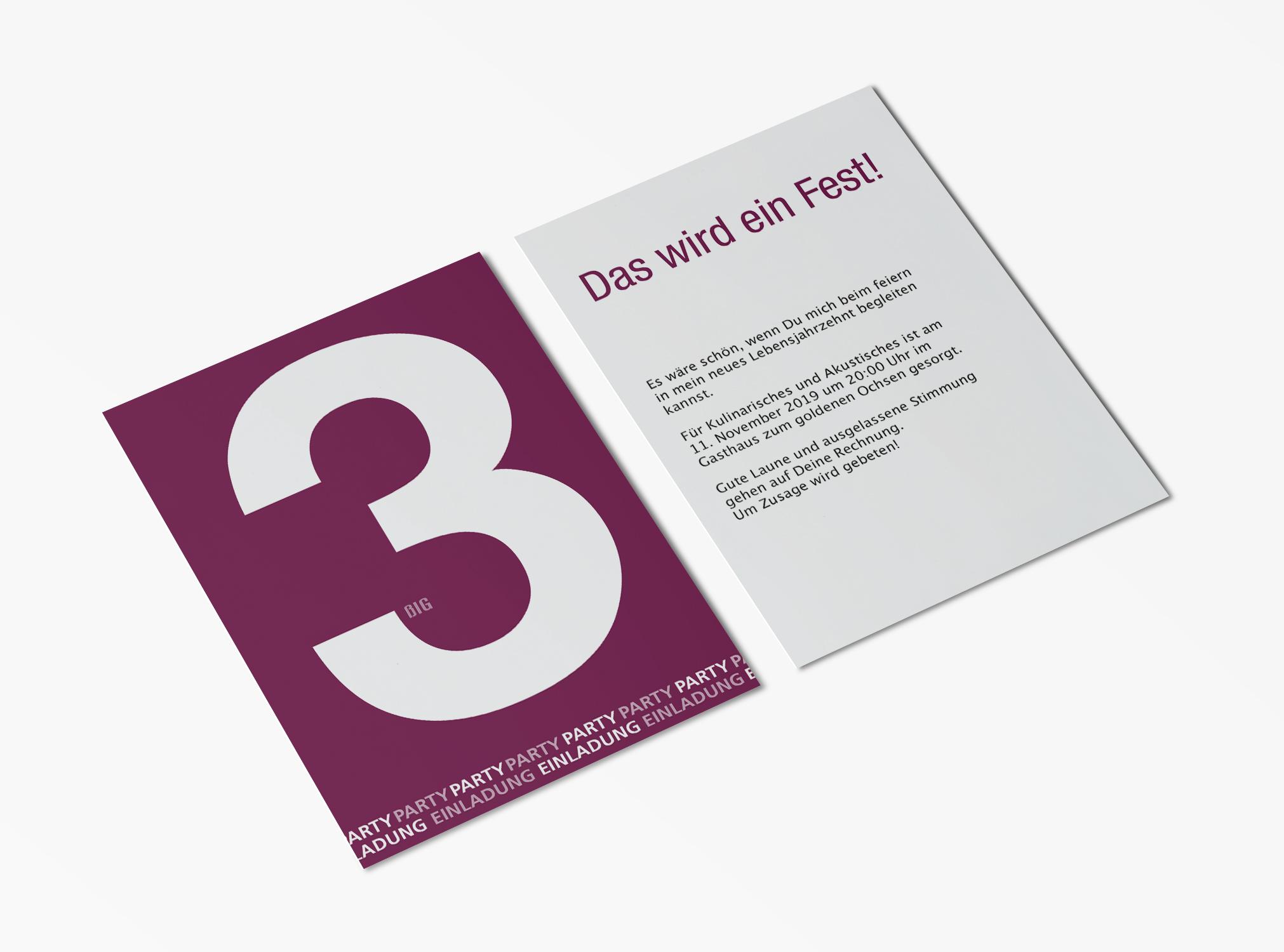 einladungskarten 30. geburtstag große zahl