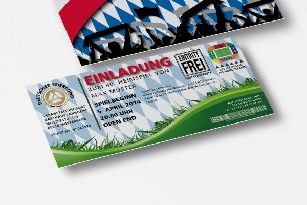 Einladungskarte lustig Geburtstag Fußball-Stadionticket Bayern