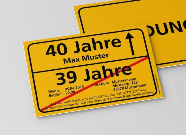 Einladung Einladungskarte lustig Geburtstag Ortsschild