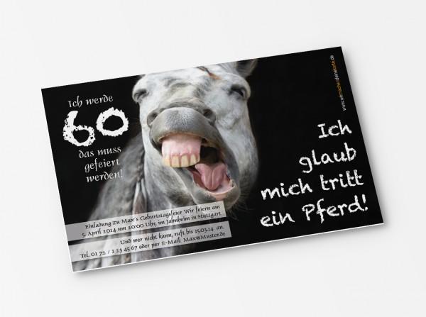 Geburtstag Einladungskarten - 60. Geburtstag Pferd
