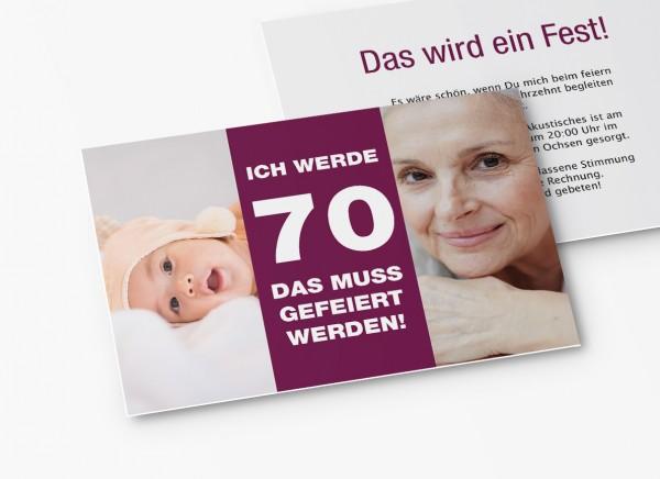 Einladungskarten 70. Geburtstag vom Baby bis Heute