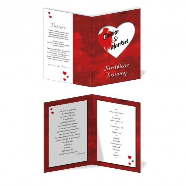 Kirchenprogramm Hochzeit - Rotes Herz