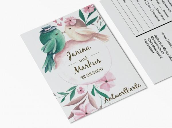 Antwortkarten für Einladung Hochzeit - Tweet
