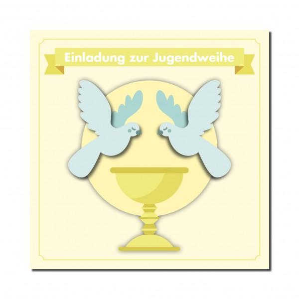 Einladung Einladungskarte Jugendweihe Friedenstauben