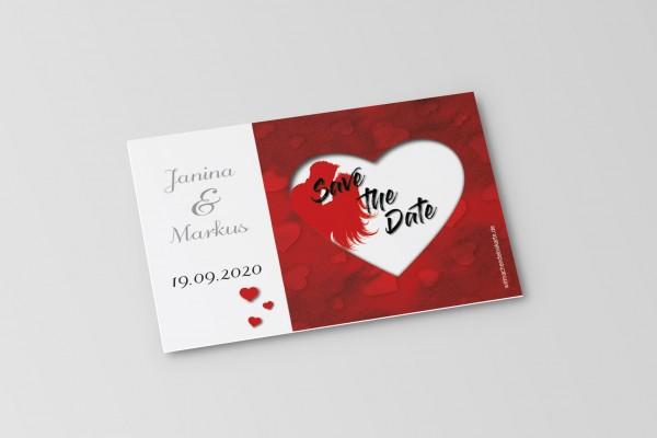 Save the Date Karten Einladung Hochzeit - Rotes Herz