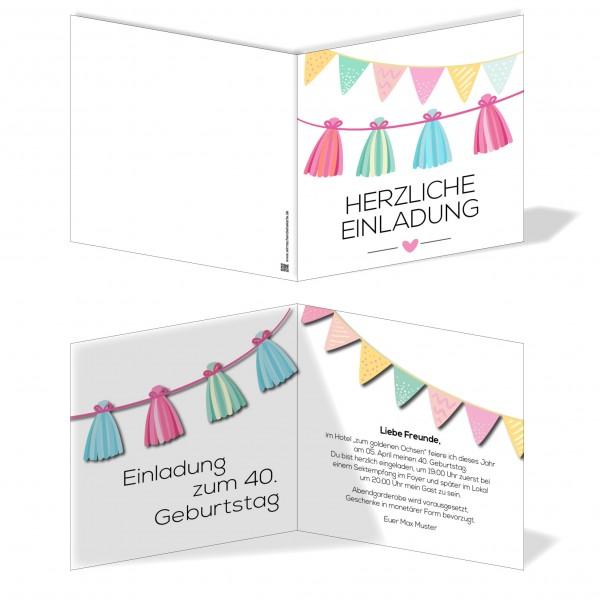 Einladung Einladungskarte Geburtstag Girlandenspaß