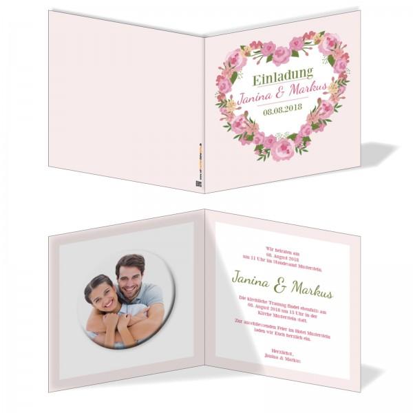Einladungskarten Hochzeit Hochzeitskarten mit Druck - Blumenherz