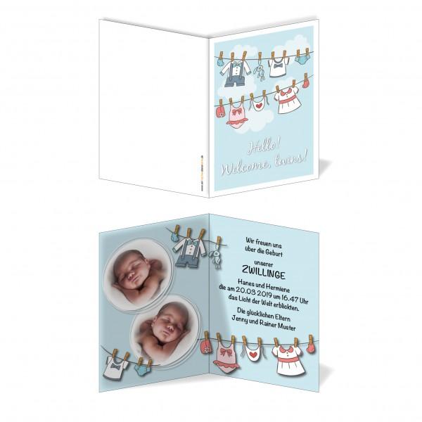 Geburtskarten Babykarten individuell - Zwillinge Wäscheleine