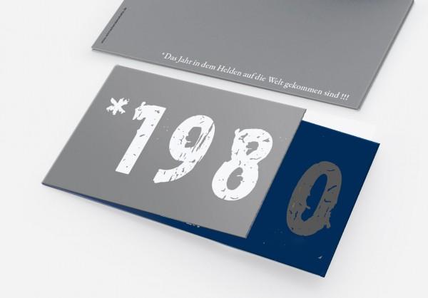 Geburtstag Einladungskarten - 40. Geburtstag Zeitsprung Grau