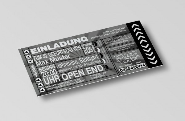 Einladung Einladungskarte lustig Geburtstag-Ticket Schwarz